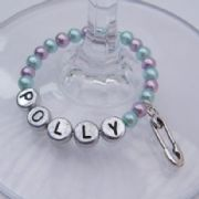 Baby Nappy Pin Personalised Wine Glass Charm - Full Bead Style